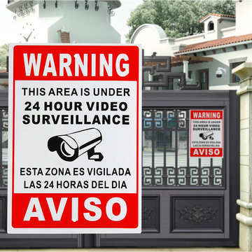 24 uur Videobewaking Waarschuwingsbord Sticker Beveiliging Video Spaans Engels Metaal