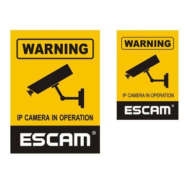 2 Stks / partij ESCAM 12x18 cm 10x14.5 cm Monitoring Beveiligingscamera CCTV Waterdicht Waarschuwingsbord Sticker