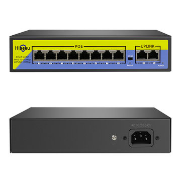 Hiseeu POE-X1010B 48 V 10-poorten POE-schakelaar met Ethernet 10 / 100Mbps IEEE 802.3 voor IP CCTV bewakingscamera