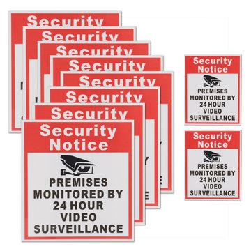 10Pcs Camera Video Surveillance Sign Sticker Beveiligingspremie Premies Geobserveerd Door 24 Uur