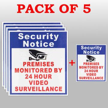 5X Premises Beschermd Door 24 Uur Video Surveillance Sign Sticker Security Camera