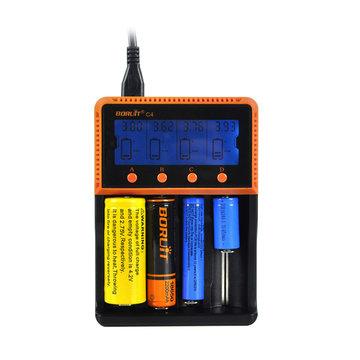 BORUiT C4 Universeel 18650 LCD-scherm AA AAA Li ion Oplaadbare batterij Digitale oplader