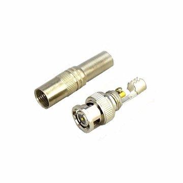 BNC mannelijke connector voor RG-59 coaxische kabel messing einde crimp kabel schroeven CCTV camera geen las