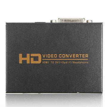1080P Volledige HD HD naar DVI Spdif hoofdtelefoon Audio Video Converter 5.1CH 2.0CH