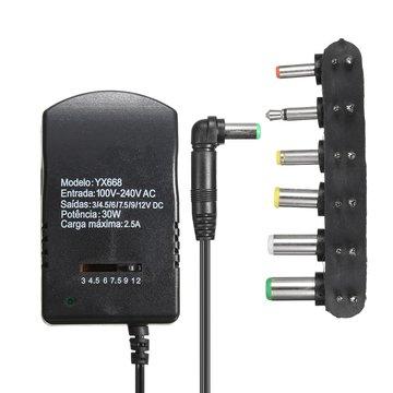 2.5A 30W 6-in-1 Universele AC DC Adapter Converter 3V 4.5V 6V 7.5V 9V 12V Power Charger Supply