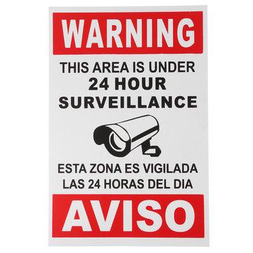 Engels Spaans Beveiligingswaarschuwing Teken Camera Sticker Waarschuwing Dit Gebied Is Onder 24 Uur Surveillance