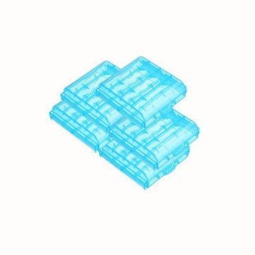 5 Powerlion PL-B5742 Transparante AA-batterijbatterij met opbergen Case-Blue