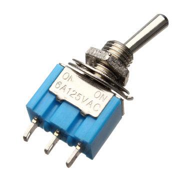 5st SPDT 3-pins tuimelschakelaar AC 125V 6A AAN / AAN 2 stand