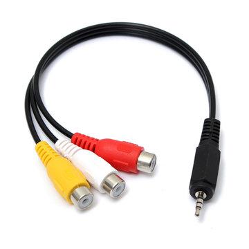 2.5mm 20cm Mannelijk tot 3 RCA Vrouwelijk Jack Splitter Audio Video AV Adapter Kabel Uitbreiding