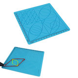 C-Type Blue 3D Printing Pen Drawing Tools Silicone Design Mat with Basic Template + 2pcs Insulation Silicone Finger Caps Kit_