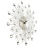 Diamante Crystal Effect Jeweled Sunburst Zilveren Wire Wandklok_