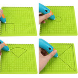 4PCS 3D Printing Pen Silicone Design Mat Drawing Tools with Basic Template + 5PCS Insulation Silicone Finger Caps_