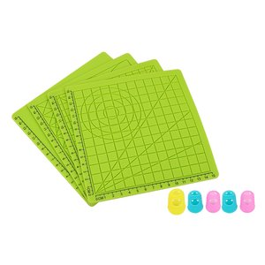 4PCS 3D Printing Pen Silicone Design Mat Drawing Tools with Basic Template + 5PCS Insulation Silicone Finger Caps