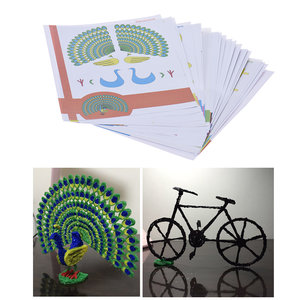 22Pcs/Pack 44 Patterns 3D Printing Pen Double-sided Cartoon Drawing Paper with Transparent Template Copy Graffiti Board for DIY Children Kids